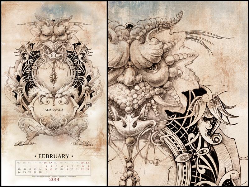 february calendar 2014 by irina vinnik